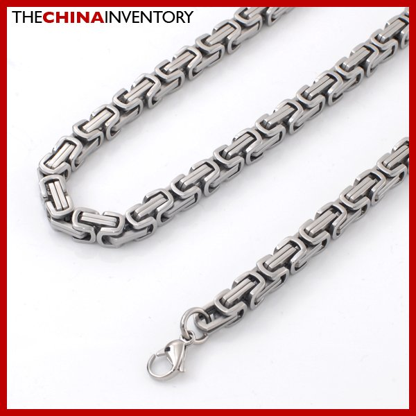 "7MM 24"""" STAINLESS STEEL BYZANTINE CHAIN NECKLACE N2405"