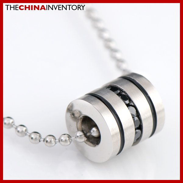STAINLESS STEEL CZ TUBE PENDANT NECKLACE P0725C