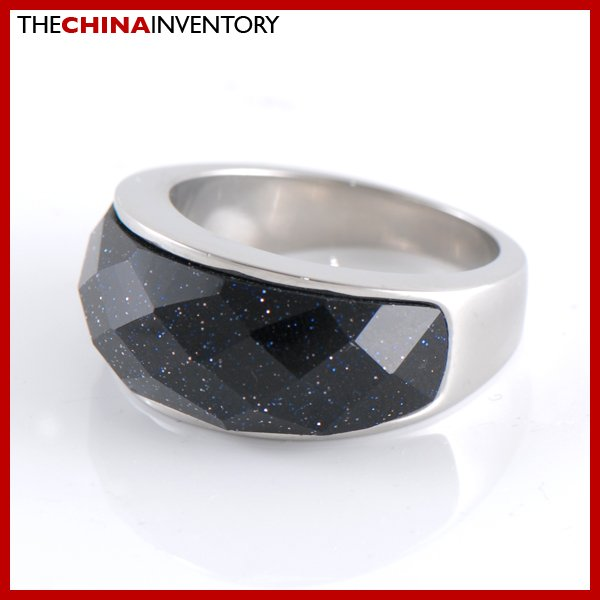 SIZE 6 STAINLESS STEEL BLACK AGATE BAND RING R0804