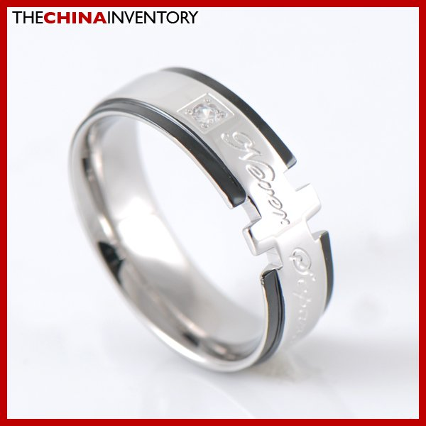 7MM SIZE 9 STAINLESS STEEL CZ BAND RING R2607