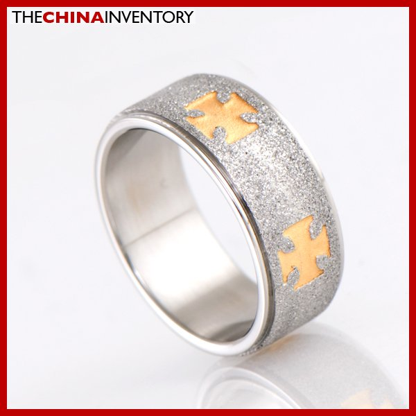 8MM SIZE 10 STAINLESS STEEL CROSS FLAT RING R2102