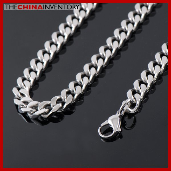 "24"""" 9MM STAINLESS STEEL DIAMOND CURB NECKLACE N2603"