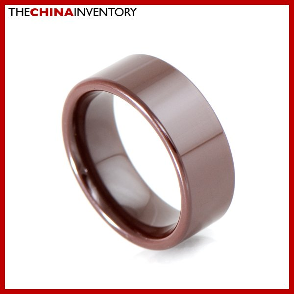 8MM SIZE 7.5 BROWN CERAMIC WEDDING BAND FLAT RING R2001