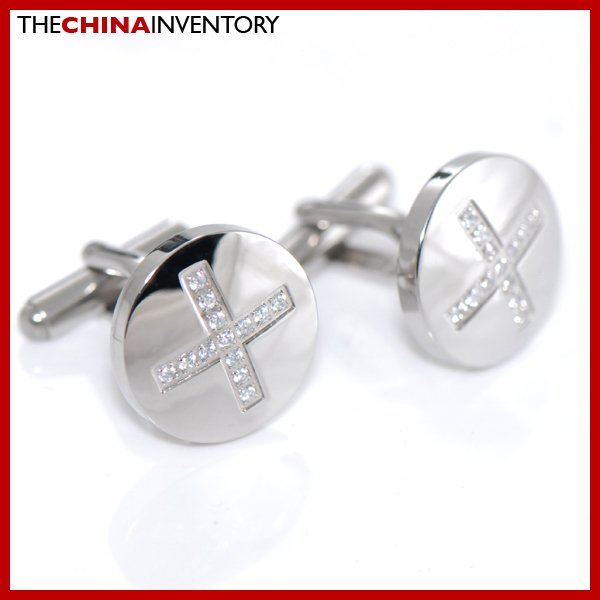 ROUND STAINLESS STEEL CROSS CZ CUFFLINKS C2701