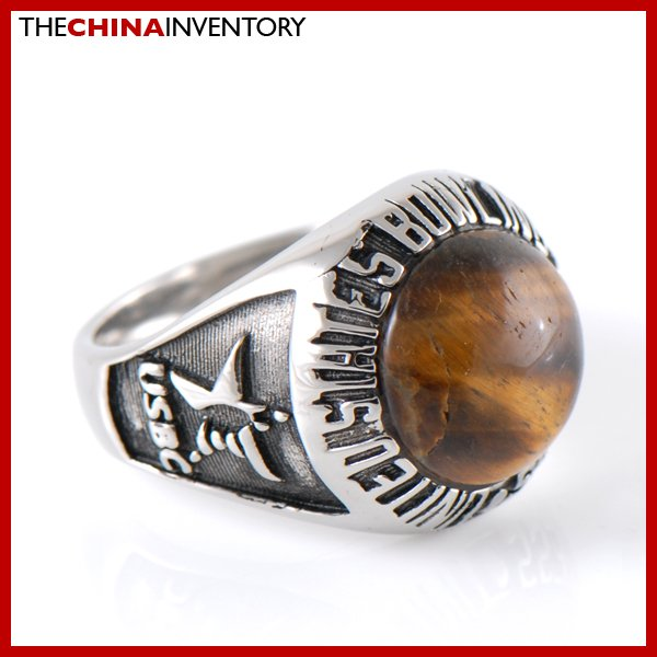 SIZE 7 STAINLESS STEEL ROUND TIGER'S EYE RING R2608
