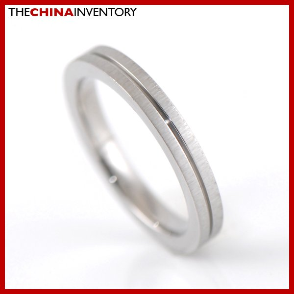 SIZE 6 STAINLESS STEEL BRUSHED GROOVED BAND RING R2706