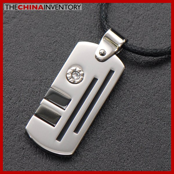 STAINLESS STEEL TAG CZ PENDANT NECKLACE P0808C