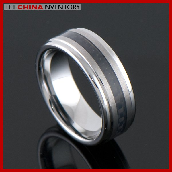 SIZE 8.5 BLACK CARBON FIBER TUNGSTEN CARBIDE RING R2103