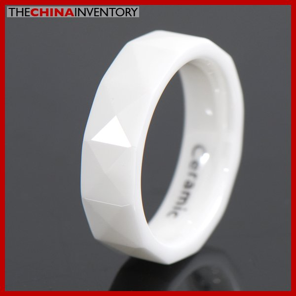 SIZE 8.5 6MM WHITE CERAMIC WEDDING BAND RING R0901C