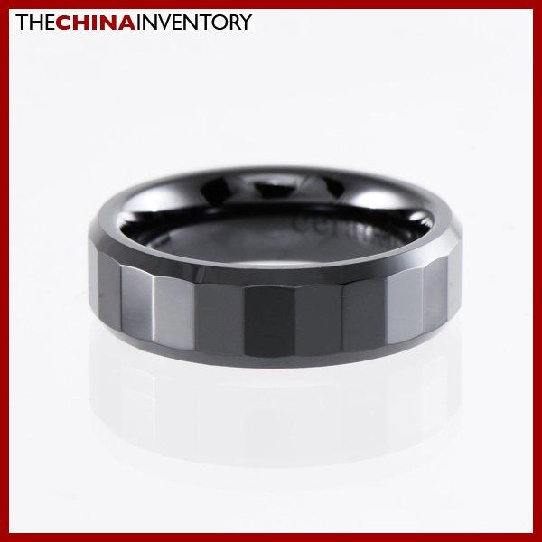 6MM SIZE 14 BLACK CERAMIC WEDDING BAND RING R1405