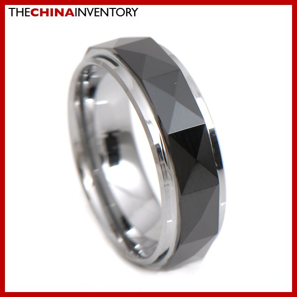 7MM SIZE 8 BLACK TUNGSTEN CARBIDE BAND RING R3404