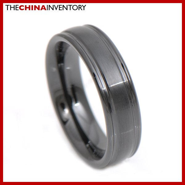 6MM SIZE 8 BLACK CERAMIC WEDDING BAND RING R3407