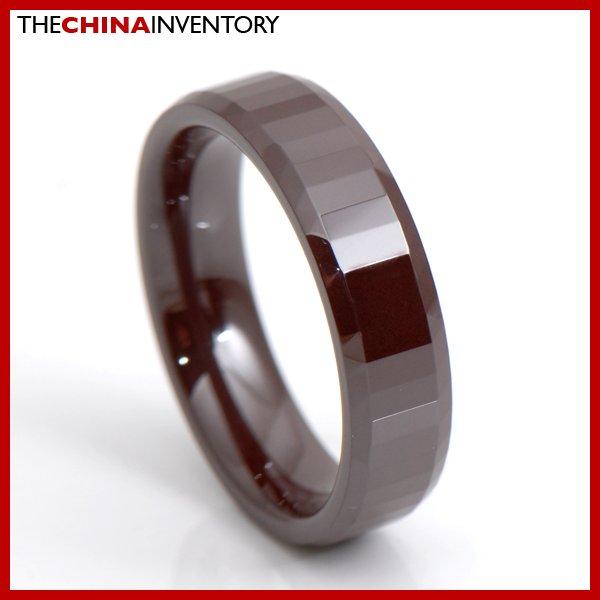 6MM SIZE 11 BROWN CERAMIC WEDDING BAND RING R3410