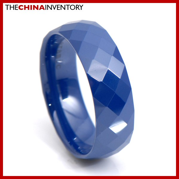 8MM SIZE 10 BLUE CERAMIC WEDDING BAND RING R3414