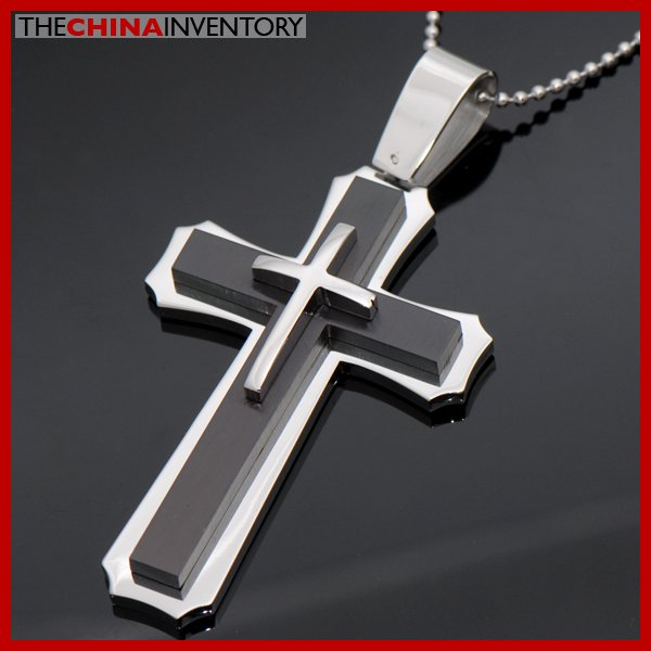 LARGE STAINLESS STEEL TRIPLE LAYER CROSS PENDANT P3705