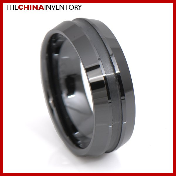 8MM SIZE 8 MEN BLACK CERAMIC RING WEDDING BAND R3401