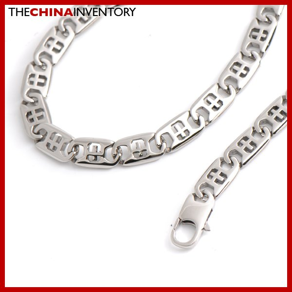 "10MM 24"""" STAINLESS STEEL CROSS LINKS MEN NECKLACE N3411"