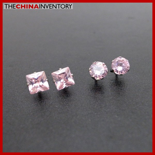 2 PAIRS STAINLESS STEEL PINK CZ STUD EARRINGS E4016E