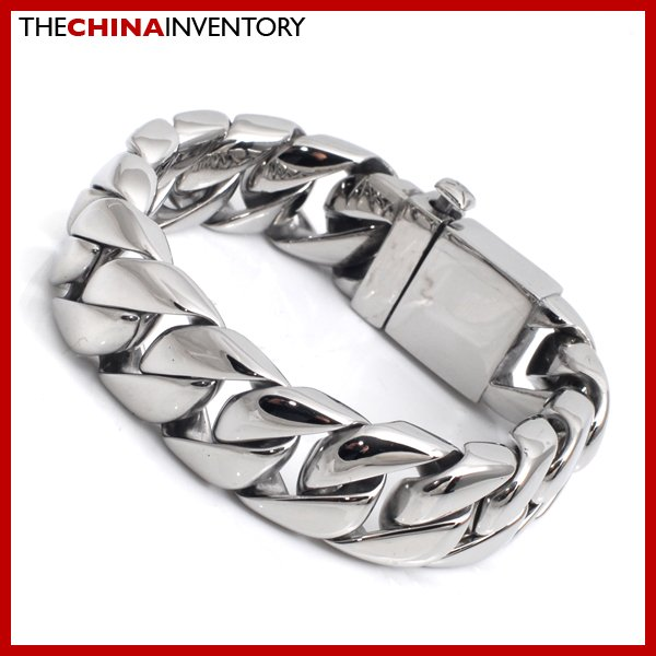 MENS 15MM CHUNKY STAINLESS STEEL CURB BRACELET B3404