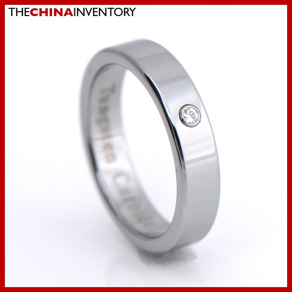 4MM SIZE 6 TUNGSTEN CARBIDE CZ WEDDING BAND RING R1203B