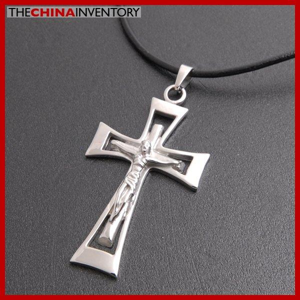 STAINLESSS STEEL JESUS ON CROSS PENDANT NECKLACE P3801