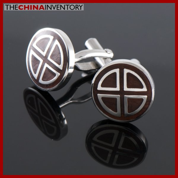 BULK 5 PAIRS STAINLESS STEEL REDWOOD CUFFLINKS WC1505B