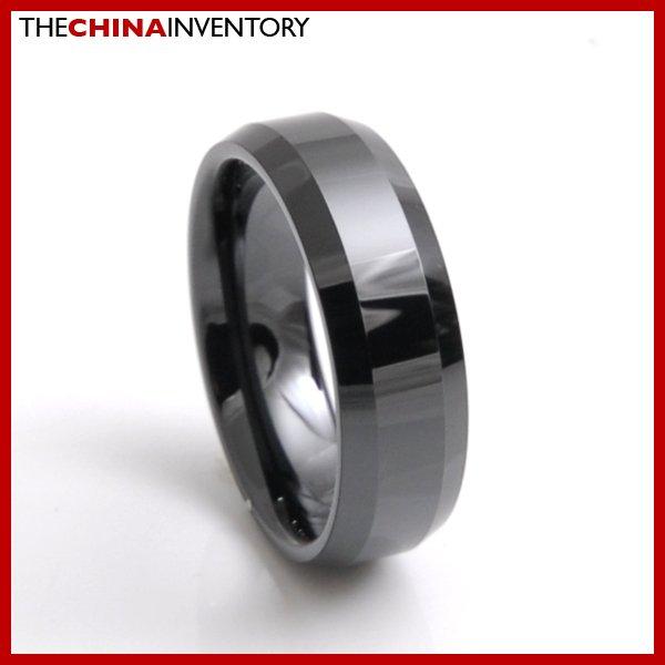 7MM SIZE 5 BLACK CERAMIC BEVELED EDGE BAND RING R3801