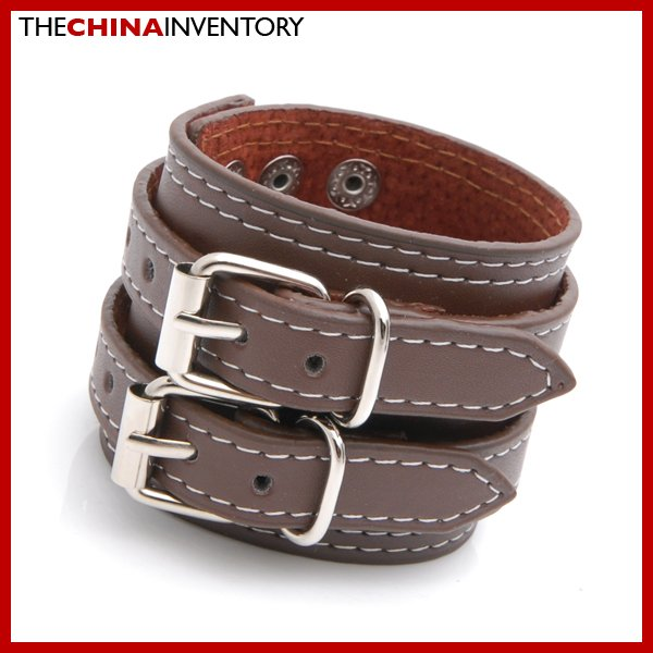 BROWN LEATHER DOUBLE BUCKLE BRACELET BANGLE B3803A