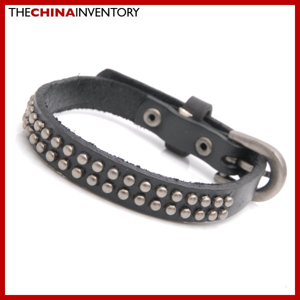 BLACK LEATHER BRACELET BELT LIKE BANGLE B3806A