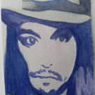 ACEO original Pop Art Watercolor Johnny Depp Celebrity Painting