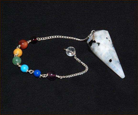 Rainbow Moonstone Chakra Pendulum