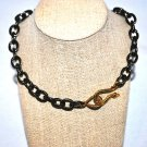 Gun Metal with Gold Snake Clasp Necklace - Shoshanna Lee