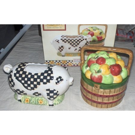 Debbie Mumm County Fair cream & sugar~Pig/apples~free shipping