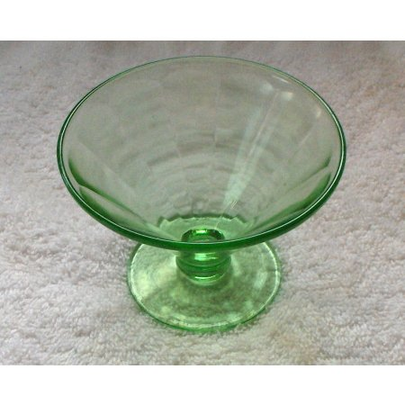 Vaseline green glass compote dish