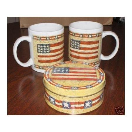 2 Patriotic Flag Mugs and matching tin~Thirstystone