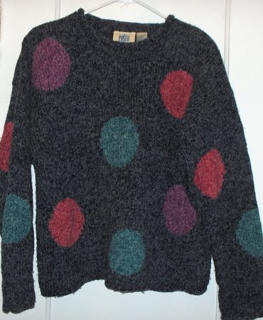 Pasta~wool blend sweater-big dots multi- size Large