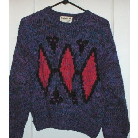 Evian II hand knit sweater dark colors/diamond LARGE