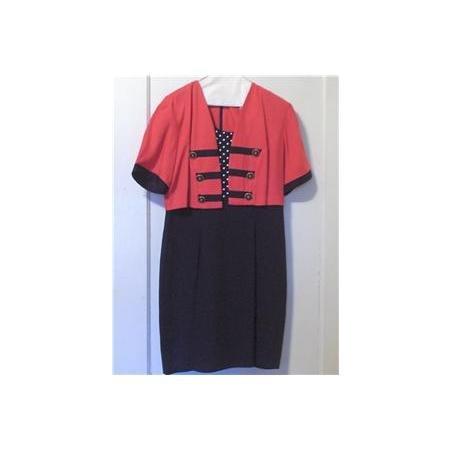 Black & Coral layer look dress~polka dots 11-12 SHORT