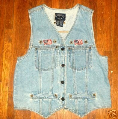 Patriotic denim vest~Emboidered flag-stars~petite med