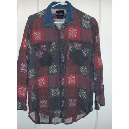 Flannel button down with denim collar-like new MED