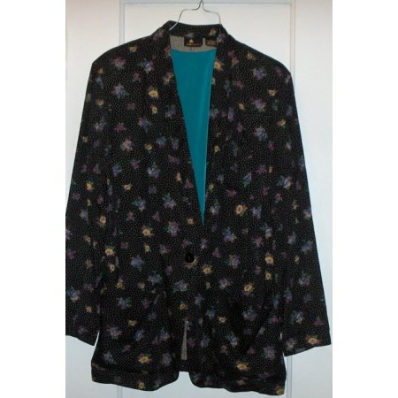 LizSport blazer Black/Floral w/ shell top sz SMALL