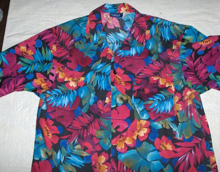 Tropical~Floral print button down casual-medium-new