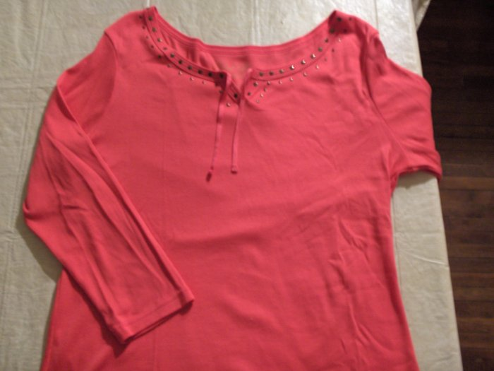 Faded Glory Coral long sleeve Tee womens large 12-14