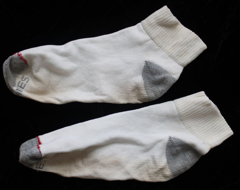 Hanes Men's Used White W/Gray Heel Ankle Socks Large 10-12