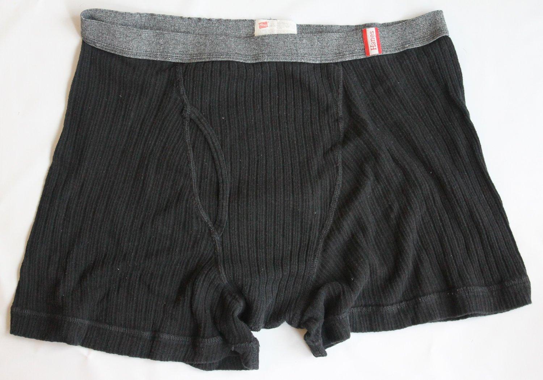 Hanes Men's 1 pr Black Ribbed Underwear Boxer Briefs L 36-38