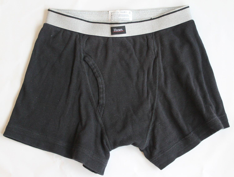 Hanes Men's 1 pr Black Underwear Boxer Briefs S 28-30
