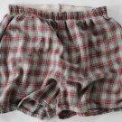 Men's  Used Flannel Boxers 2 Pair blue/Red Plaid  Medium 32-34