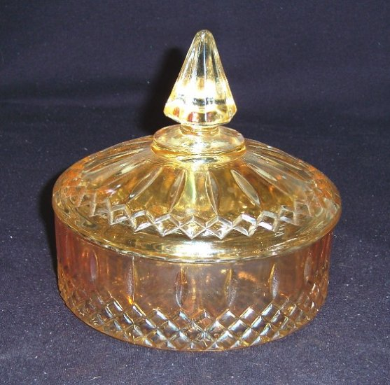 "Indiana Glass""MARIGOLD"" PRINCESS Powder/Candy Box""RARE"""