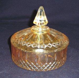 "Indiana Glass""MARIGOLD"" PRINCESS Powder/Candy Box""RARE"""