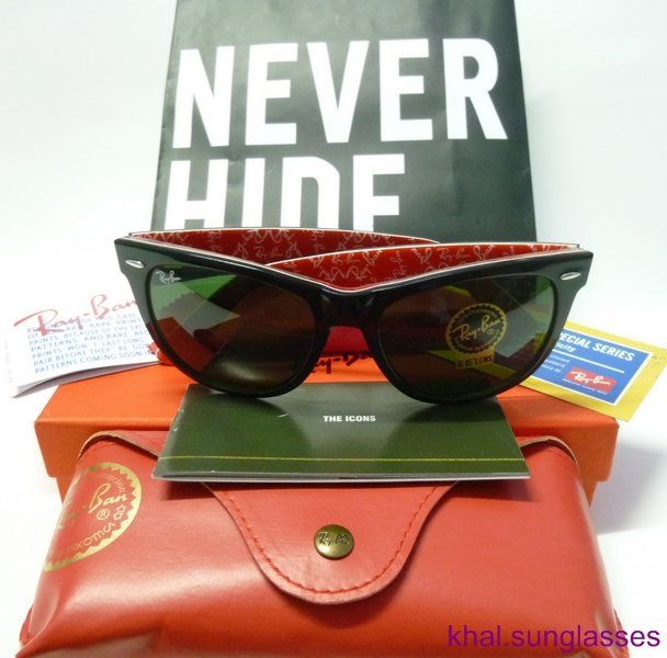 NEW Ray Ban Wayfarer Rare Prints RB2140 1016 54mm Red Black Ray-Ban Sunglasses